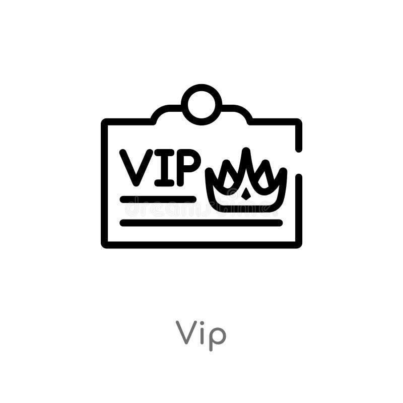 icono del vector del vip del esquema línea simple negra aislada ejemplo del elemento del concepto de lujo icono editable del vip  stock de ilustración