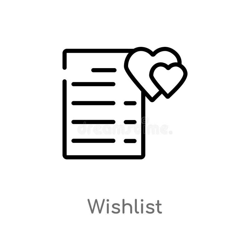 icono del vector del wishlist del esquema línea simple negra aislada ejemplo del elemento del concepto de la moda y del comercio  stock de ilustración