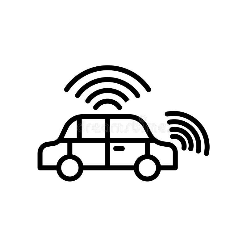 icono del vehículo autónomo aislado en el fondo blanco stock de ilustración