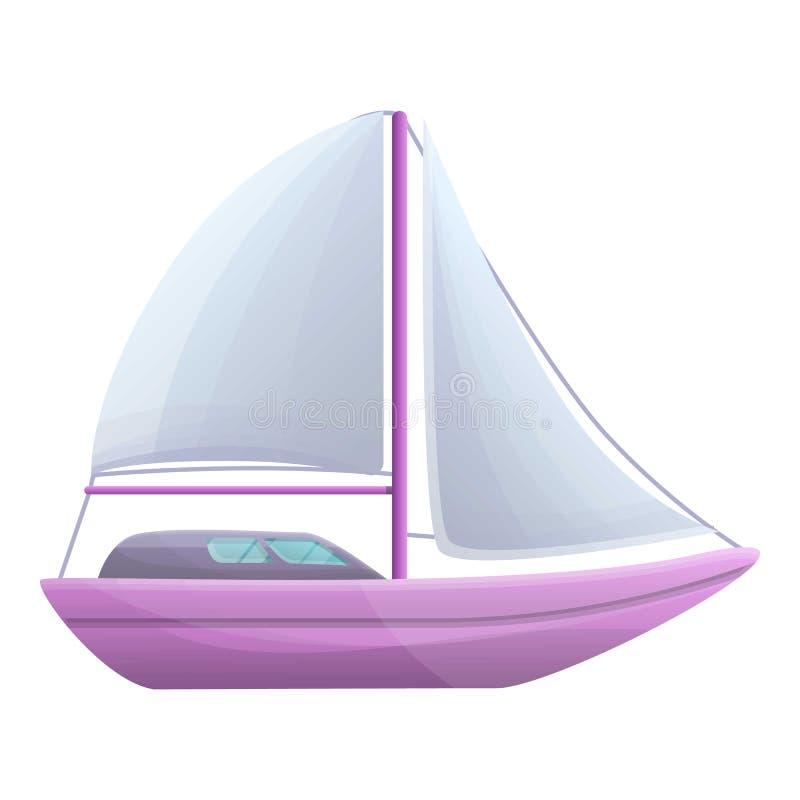 Icono del velero, estilo de la historieta stock de ilustración