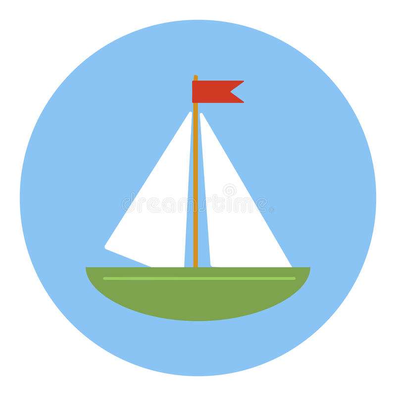 Icono del velero, estilo plano stock de ilustración