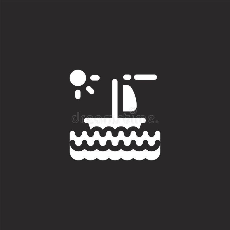 Icono del velero Icono llenado del velero para el diseño y el móvil, desarrollo de la página web del app icono del velero de la c stock de ilustración