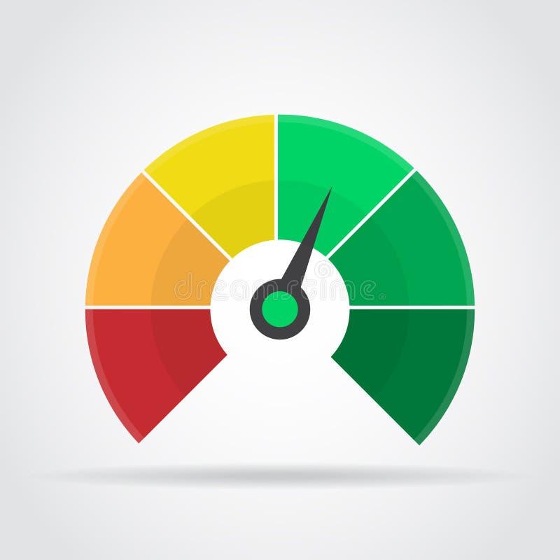 Icono del velocímetro Elemento infographic colorido del indicador con la sombra libre illustration