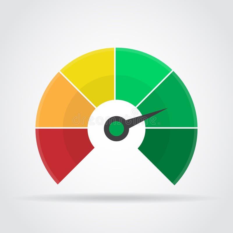 Icono del velocímetro Elemento infographic colorido del indicador con la sombra ilustración del vector