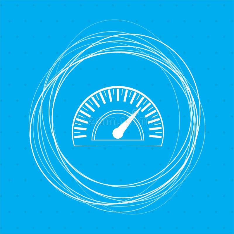 Icono del velocímetro en un fondo azul con los círculos abstractos alrededor y el lugar para su texto stock de ilustración