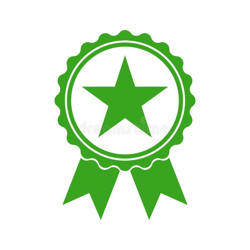 Icono del verde de la medalla de la calidad Muestra confirmativa stock de ilustración