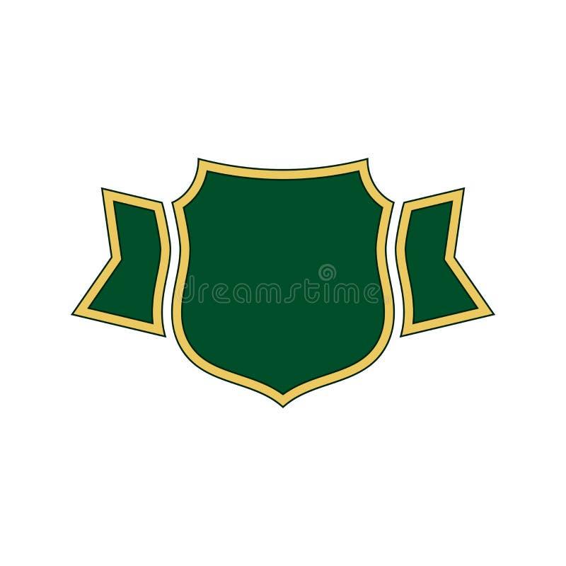 Icono del verde del escudo El escudo del esquema del oro, cinta simple aisló el fondo blanco Muestra plana Protección de la garan stock de ilustración
