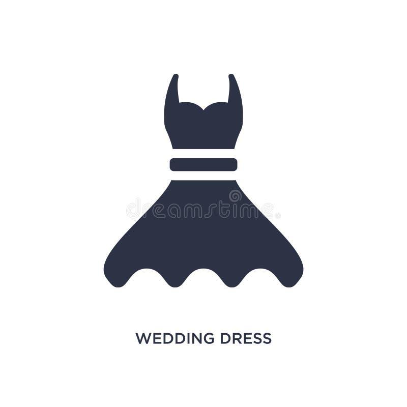 icono del vestido de boda en el fondo blanco Ejemplo simple del elemento del concepto de la fiesta y de la boda de cumpleaños libre illustration