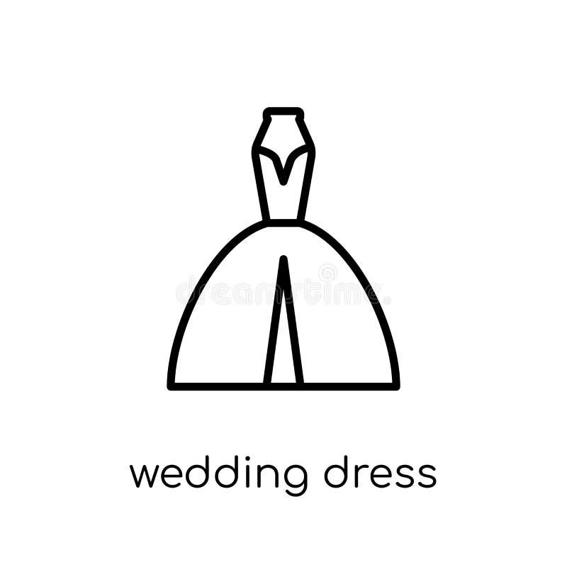 Icono del vestido de boda de la colección de la boda y del amor stock de ilustración