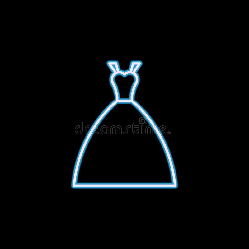 icono del vestido de la novia en el estilo de neón Uno del icono de la colección de la boda se puede utilizar para UI, UX libre illustration