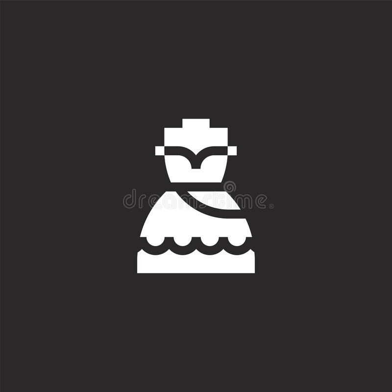 Icono del vestido Icono llenado del vestido para el diseño y el móvil, desarrollo de la página web del app el icono del vestido d ilustración del vector