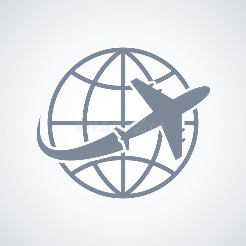Icono del viaje del globo y del avión stock de ilustración