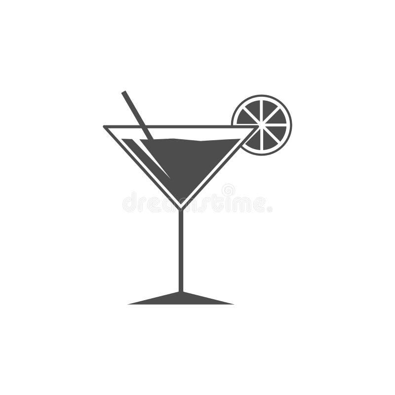 Icono del vidrio de cóctel Las bebidas del verano firman Símbolo del cubilete Ilustración del vector Diseño plano stock de ilustración