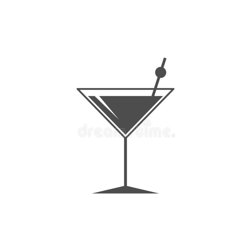 Icono del vidrio de cóctel Las bebidas del verano firman Símbolo del cubilete Ilustración del vector Diseño plano libre illustration