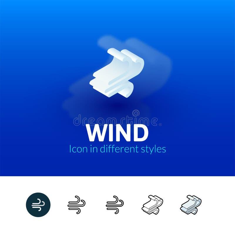 Icono del viento en diverso estilo libre illustration