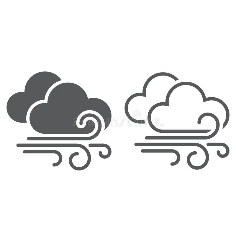 Icono del viento y del tiempo de las nubes sólido y esquema ilustración del vector