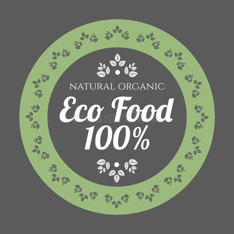 Icono del vintage de la comida de Eco stock de ilustración