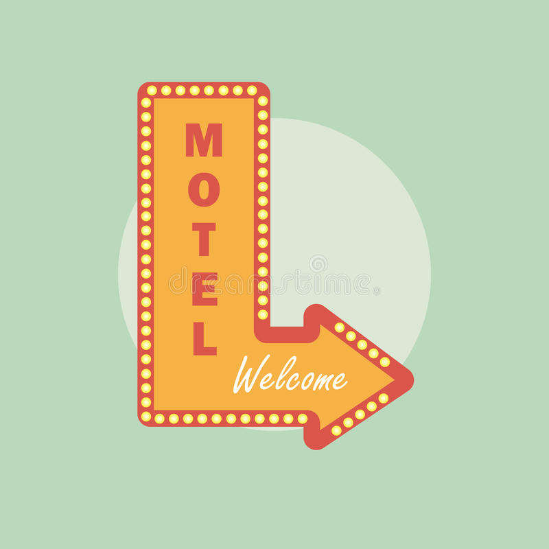 Icono del vintage del motel Estilo retro del motel Concepto del motel en estilo plano ilustración del vector