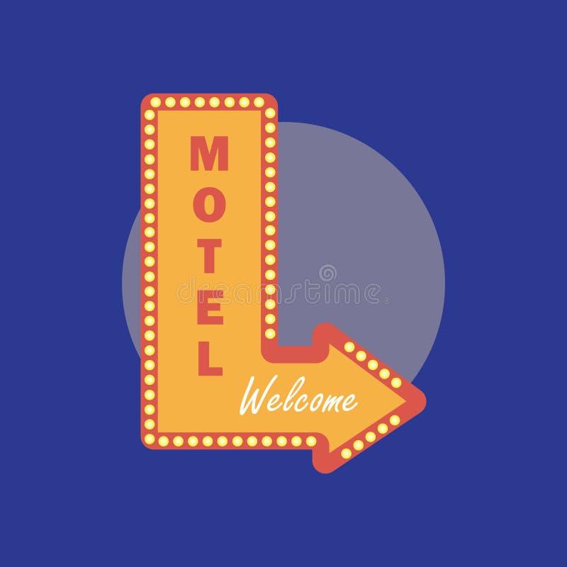 Icono del vintage del motel Estilo retro del motel Concepto del motel en pocilga plana stock de ilustración