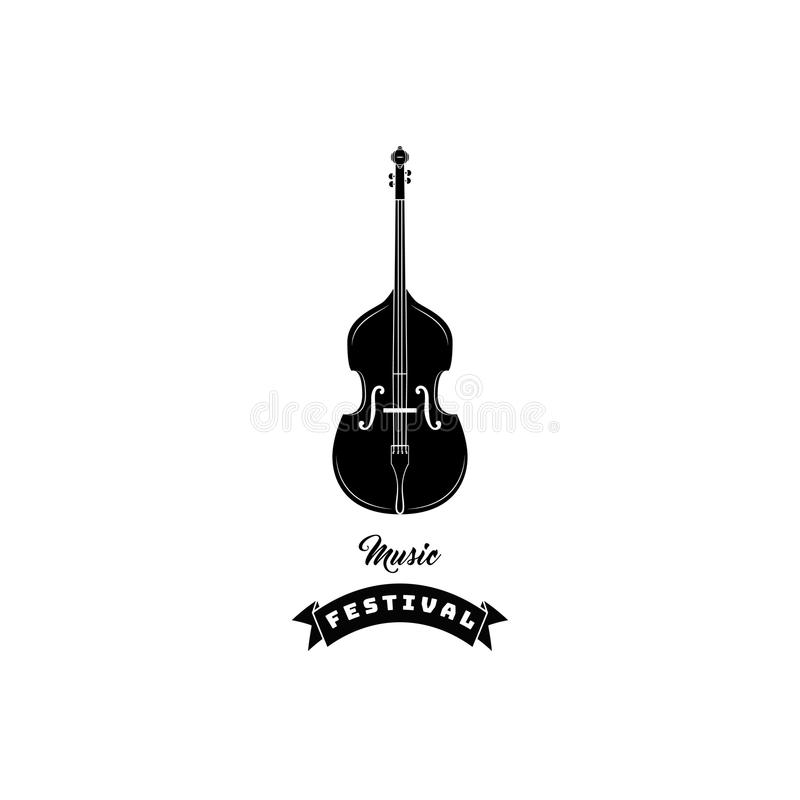 Icono del violín Etiqueta del logotipo de Festical de la música Símbolo del instrumento musical Vector libre illustration