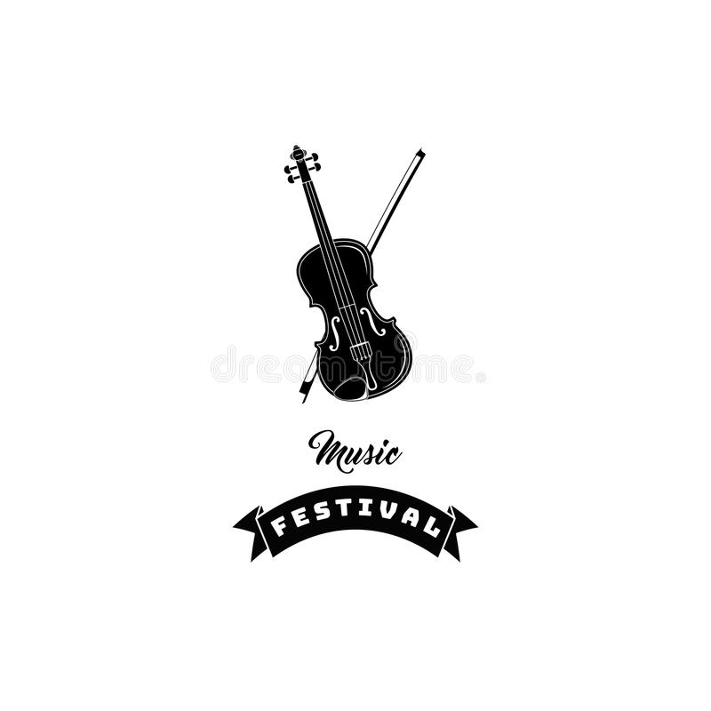 Icono del violín Etiqueta del logotipo del festival de música Instrumento musical clásico Vector libre illustration