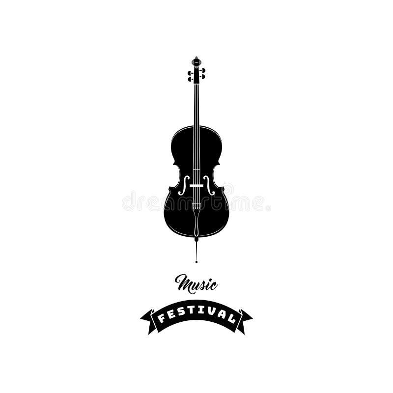 Icono del violín Símbolo de música Texto del festival de música Ilustración del vector ilustración del vector