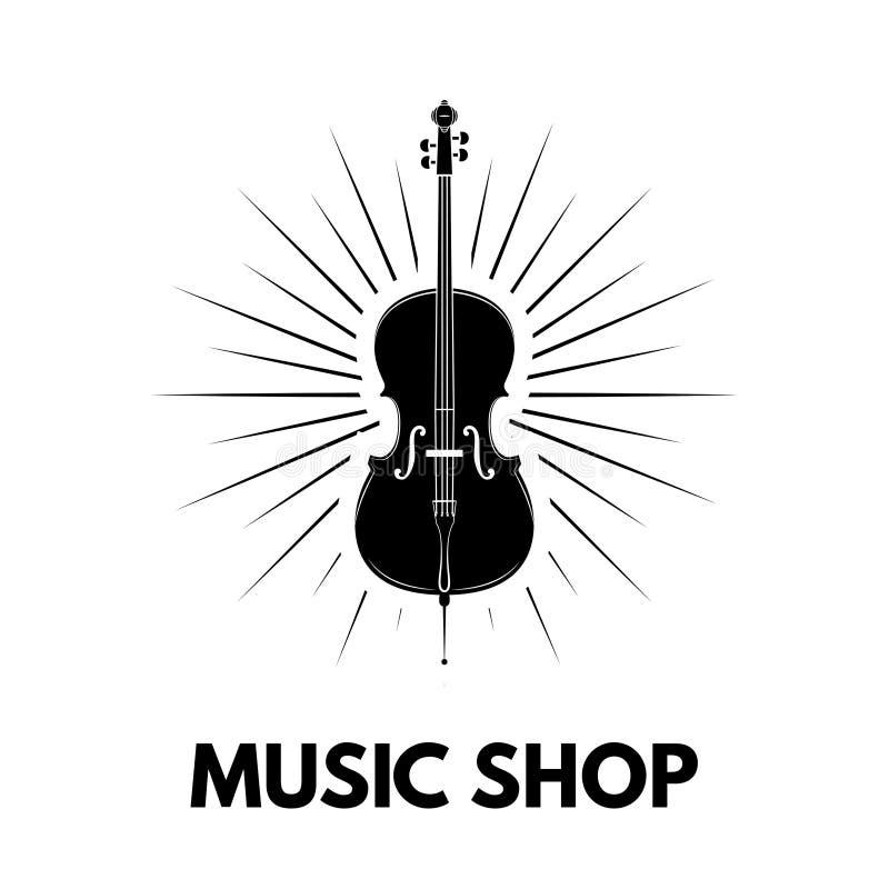Icono del violín vigas Diseño del logotipo de la tienda de la música Emblema de la etiqueta de la tienda de la música Instrumento libre illustration