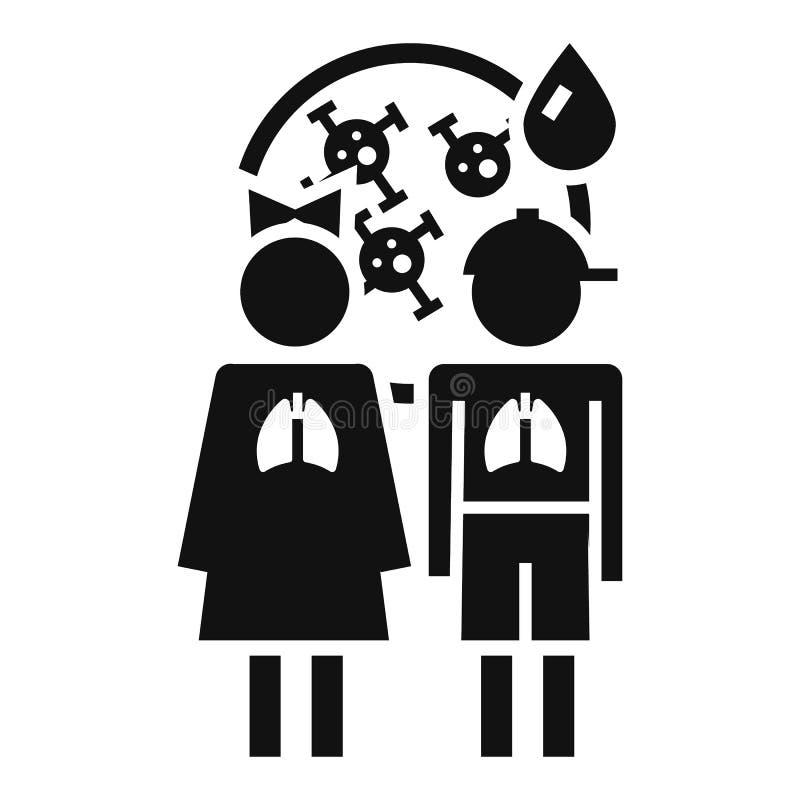 Icono del virus de la pulmonía del muchacho de la muchacha, estilo simple stock de ilustración