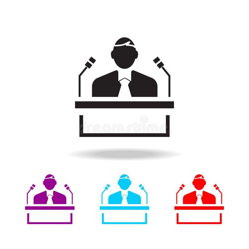 Icono del votante Elementos de la elección en iconos coloreados multi Icono superior del diseño gráfico de la calidad Icono simpl stock de ilustración