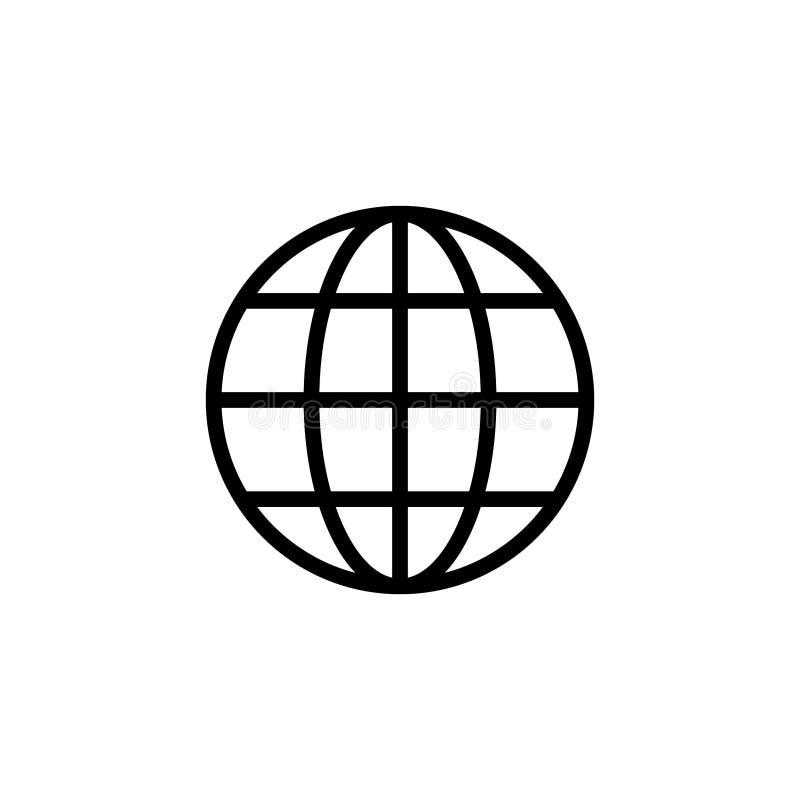 Icono del web aislado en el fondo blanco El icono del globo Ejemplo plano del vector stock de ilustración