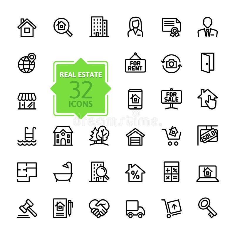 Icono del web del esquema fijado - Real Estate ilustración del vector