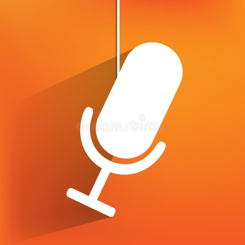 Icono del Web del micrófono, diseño plano stock de ilustración