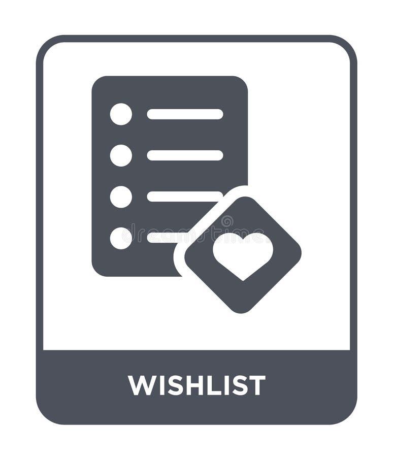 icono del wishlist en estilo de moda del diseño icono del wishlist aislado en el fondo blanco plano simple y moderno del icono de libre illustration