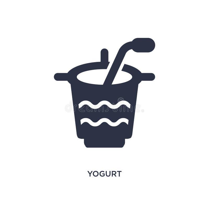 Icono del yogur en el fondo blanco Ejemplo simple del elemento del concepto de los alimentos de preparación rápida ilustración del vector