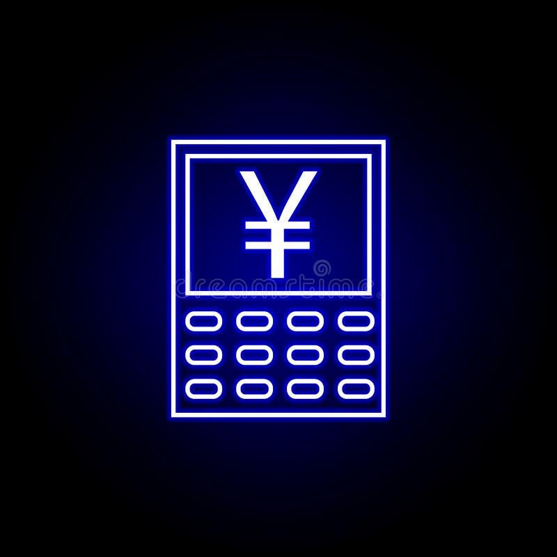 icono del yuan de la calculadora en el estilo de neón Elemento del ejemplo de las finanzas Las muestras y el icono de los s?mbolo ilustración del vector
