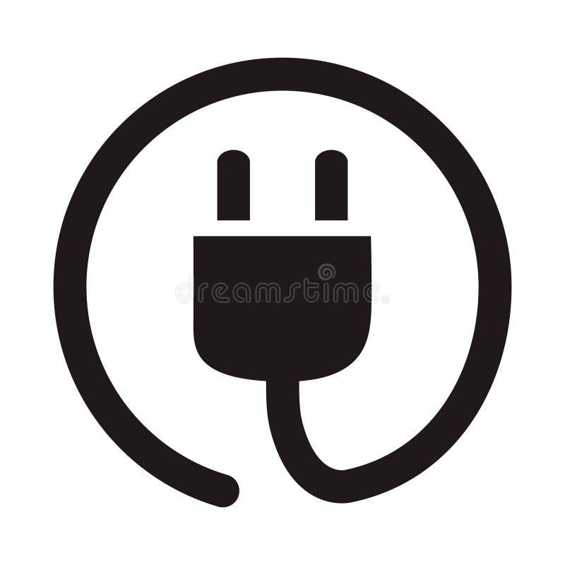 Icono del zócalo del enchufe eléctrico, ejemplo plano simple del vector, concentrado libre illustration