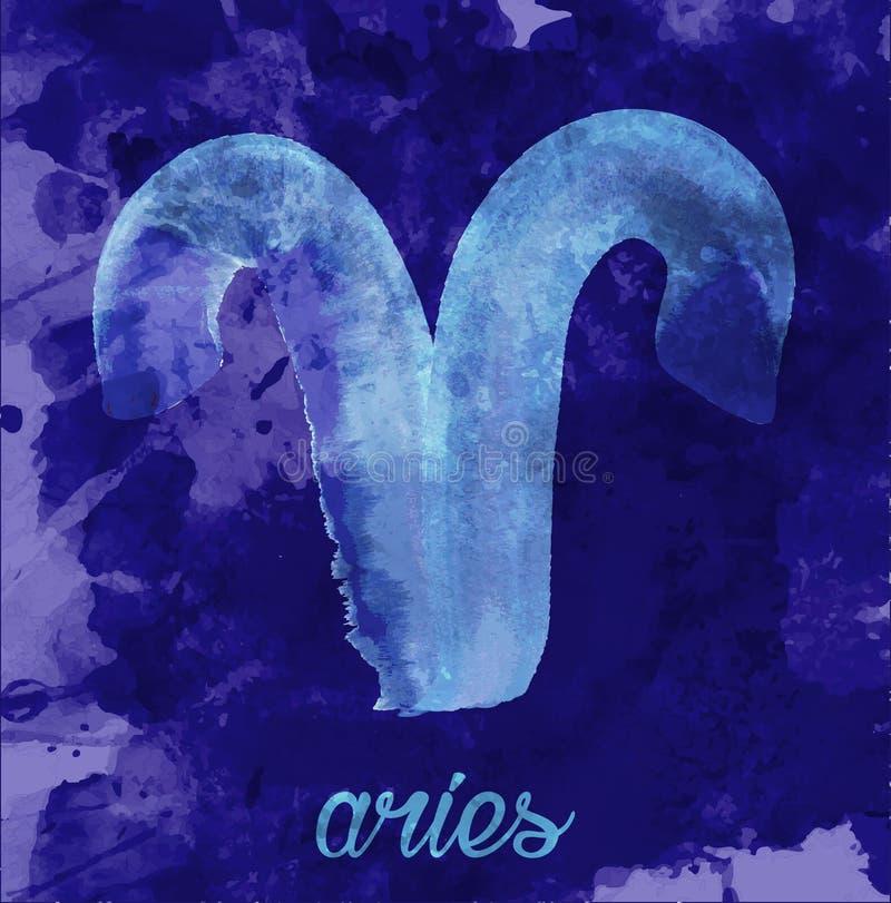 Icono del zodiaco, icono del aries del ejemplo del vector muestras astrológicas, imagen del horóscopo estilo del Agua-color ilustración del vector