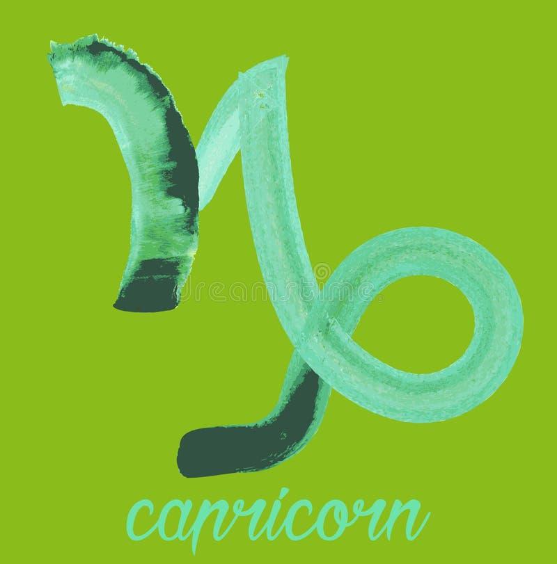 Icono del zodiaco, icono del Capricornio del vector muestras astrológicas, imagen colorida del horóscopo Estilo del Watercolour libre illustration