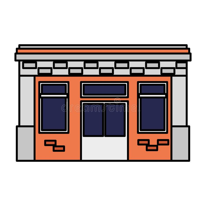 Icono delantero constructivo de la fachada stock de ilustración