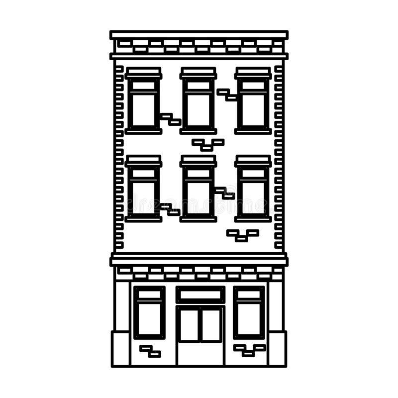 Icono delantero constructivo de la fachada libre illustration