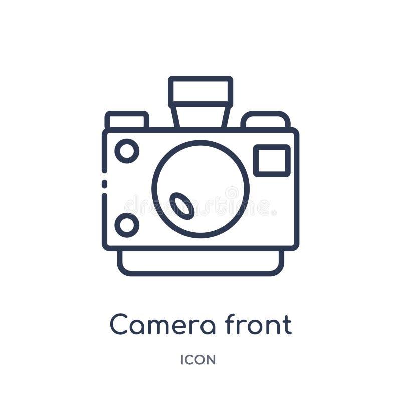 Icono delantero de la cámara linear de la colección diversa del esquema Línea fina icono delantero de la cámara aislado en el fon libre illustration