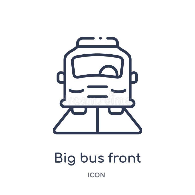 Icono delantero del autobús grande linear de la colección del esquema de Mechanicons Línea fina icono delantero del autobús grand libre illustration