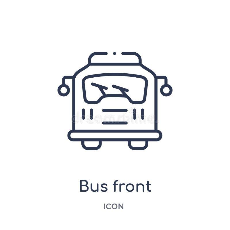 Icono delantero del autobús linear de la colección del esquema de Mechanicons Línea fina icono delantero del autobús aislado en e libre illustration