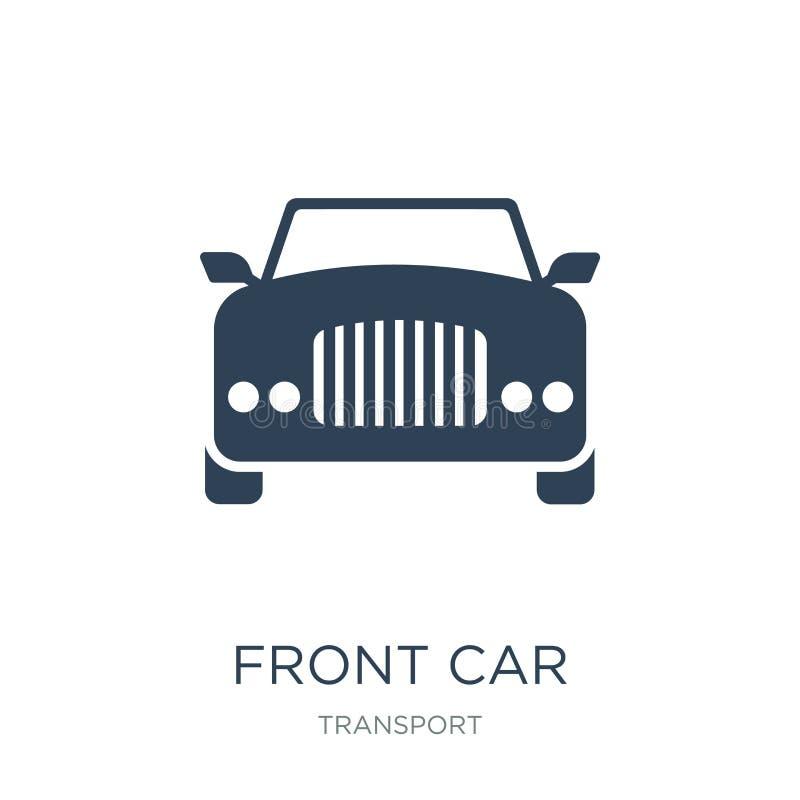 icono delantero del coche en estilo de moda del diseño icono delantero del coche aislado en el fondo blanco plano simple y modern stock de ilustración