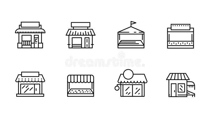 Icono delantero del vector del esquema de la tienda del comercio completamente stock de ilustración