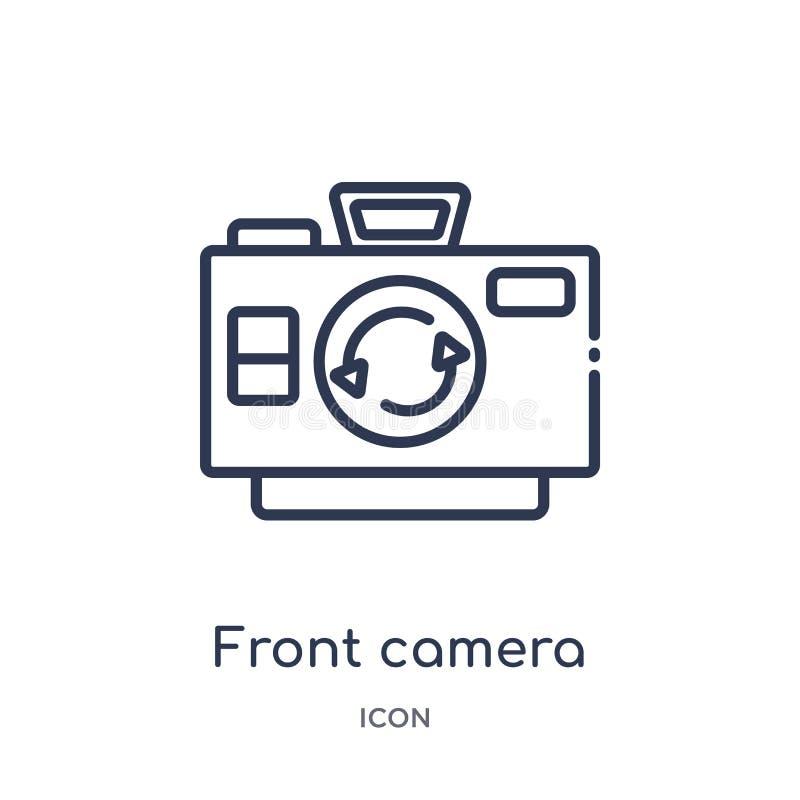 Icono delantero linear de la cámara de la colección diversa del esquema Línea fina icono delantero de la cámara aislado en el fon ilustración del vector