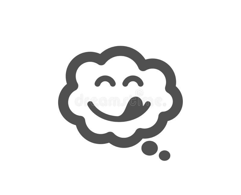 Icono delicioso de la sonrisa Emoticon con la muestra de la lengua Burbuja c?mica del discurso Vector stock de ilustración