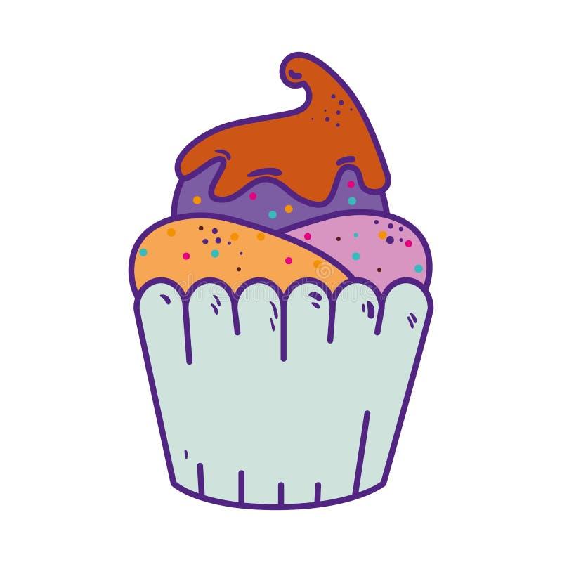 Icono delicioso del dulce de la magdalena stock de ilustración