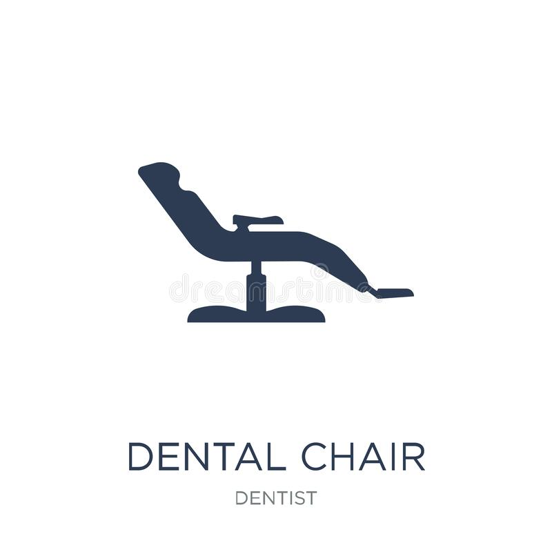 Icono dental de la silla Icono dental de la silla del vector plano de moda en blanco ilustración del vector