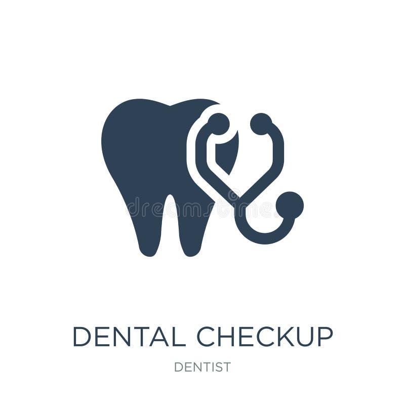 icono dental del chequeo en estilo de moda del diseño icono dental del chequeo aislado en el fondo blanco icono dental del vector stock de ilustración